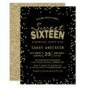 sweet 16 sixteen party | trendy gold glitter dots invitation