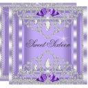 sweet 16 sixteen purple silver diamond party 3i invitation