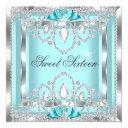 sweet 16 sixteen teal blue silver diamond party 2i invitation