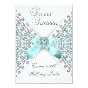 Small Sweet 16 Sixteen Teal Blue Silver White Diamond Invitations Front View