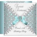 sweet 16 sixteen teal blue silver white diamond invitation