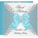 sweet 16 sixteen teal blue white diamond party invitation