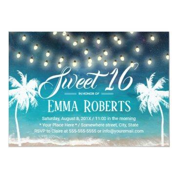 Small Sweet 16 String Lights Summer Beach Palm Trees Invitations Front View