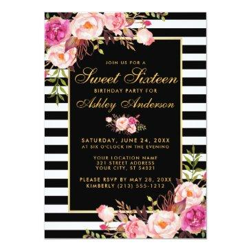 sweet 16 striped pink floral gold invitation