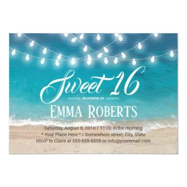 Small Sweet 16 Summer Beach & String Lights Invitations Front View