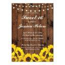 sweet 16 sunflower wood lights rustic invitation