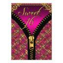 sweet 16 sweet sixteen sequins pink gold black invitation