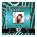 sweet 16 sweet sixteen teal black zebra photo invitation