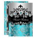sweet 16 teal silver black floral jewel party invitation