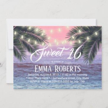 sweet 16 tropical palm tree beach string lights invitation