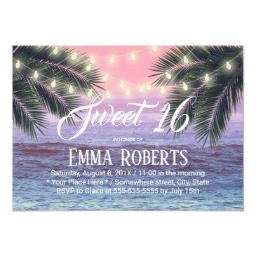 sweet 16 tropical palm tree beach string lights invitation