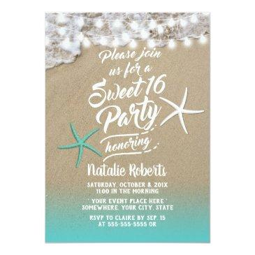 Small Sweet 16 Tropical Summer Beach Starfish Invitation Front View