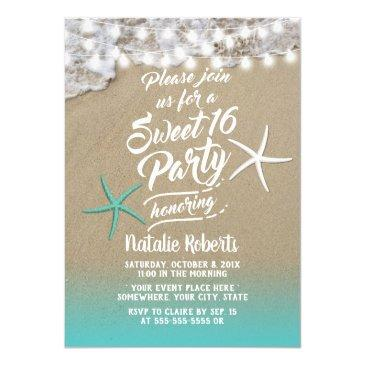 sweet 16 tropical summer beach starfish invitation
