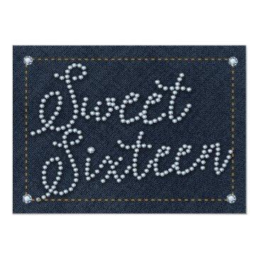 sweet 16 type denim & diamonds party invitations