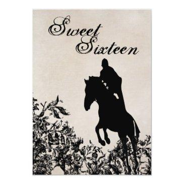 Small Sweet 16 Vintage Horse Jumping Birthday Invitation Front View