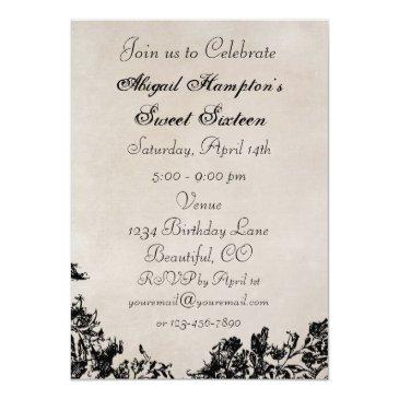 Small Sweet 16 Vintage Horse Jumping Birthday Invitation Back View