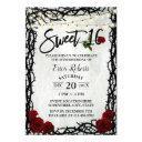 sweet 16 vintage red rose flowers thorn frame invitation