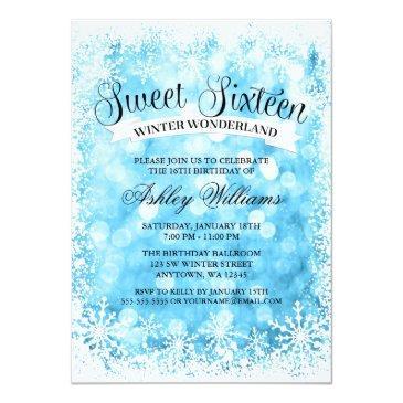 Small Sweet 16 Winter Wonderland Blue Glitter Lights Invitations Front View