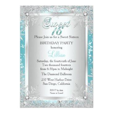 Small Sweet 16 Winter Wonderland Blue Teal Snowflake Invitations Back View
