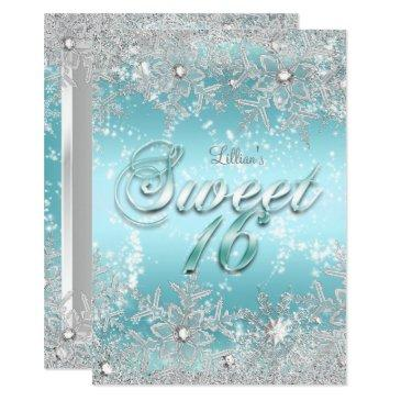 sweet 16 winter wonderland blue teal snowflake invitations
