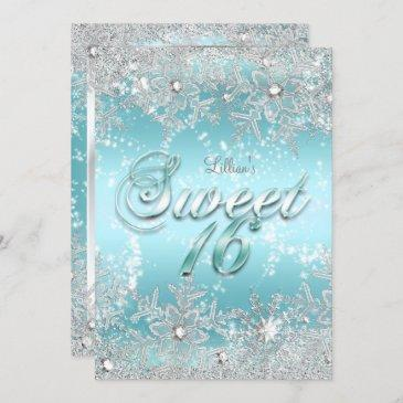 sweet 16 winter wonderland blue teal snowflake invitation