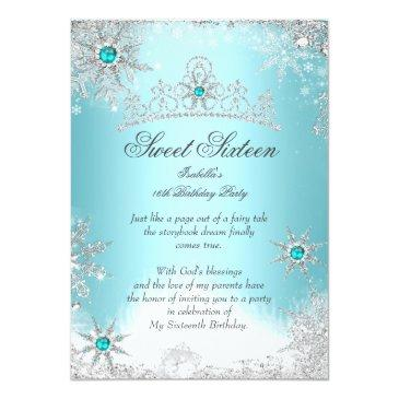 Small Sweet 16 Winter Wonderland Silver Blue Invitation Front View