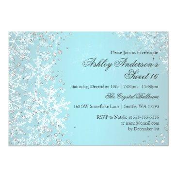 Small Sweet 16 Winter Wonderland Sparkle Snowflakes Invitations Front View