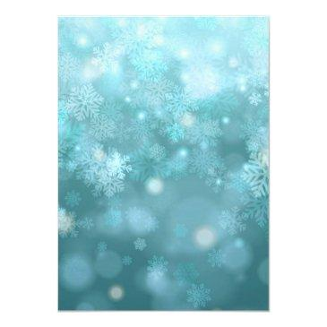 Small Sweet 16 Winter Wonderland Sparkle Snowflakes Invitations Back View