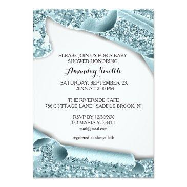 Small Sweet 16th 15th Bridal Shower 3d Blue Graduate Invitation Back View
