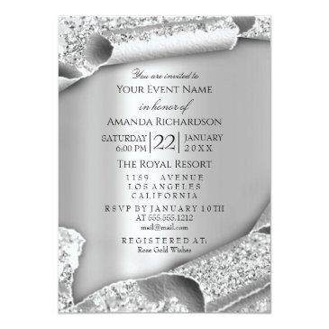 Small Sweet 16th Bridal Wedding 3d Rose Silver Invitation Front View