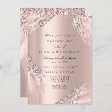 sweet 16th dress spark rose gold diamond invitation