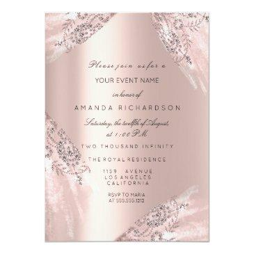 Small Sweet 16th Dress Spark Rose Gold Diamond Invitation Front View