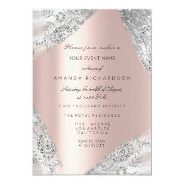Small Sweet 16th Dress Spark Rose Silver Pink Diamond Invitation Front View