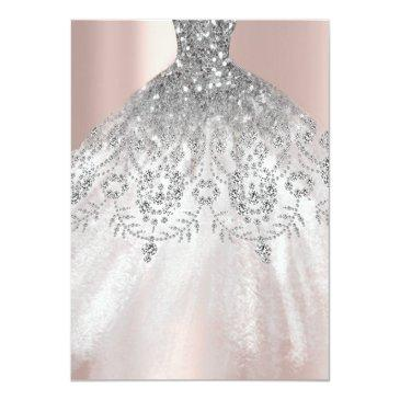Small Sweet 16th Dress Spark Rose Silver Pink Diamond Invitation Back View