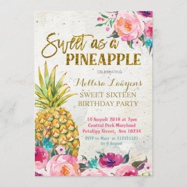 sweet as pineapple birthday invitation