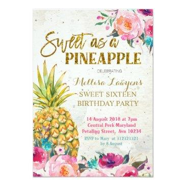 Small Sweet As Pineapple Birthday Invitation Front View