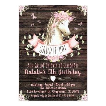 Small Sweet Horse Birthday Party Invitation Front View