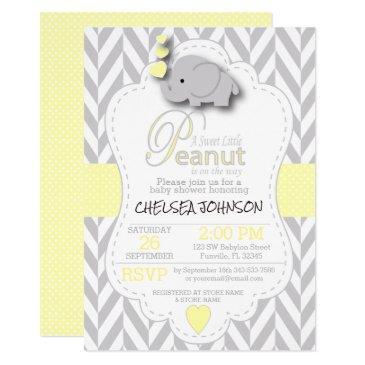 sweet little peanut elephant baby shower  invitation