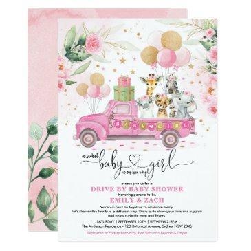 sweet pink gold safari animal drive by baby shower invitation