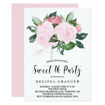 sweet pink watercolor roses sweet sixteen party invitation