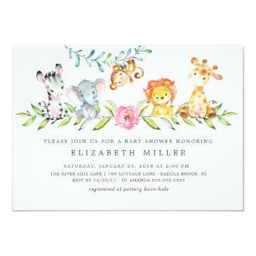 Small Sweet Safari Animals Baby Shower Invitation Front View