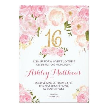 Small Sweet Sixteen 16 Birthday Floral Invitation, Invitations Front View