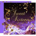 sweet sixteen 16 birthday party purple gold stars