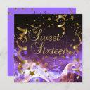 sweet sixteen 16 birthday party purple gold stars invitation