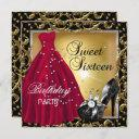 sweet sixteen 16 birthday party red gold dress invitation