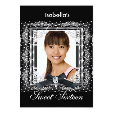Small Sweet Sixteen 16 Black White Silver Birthday Party Front View