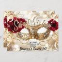 sweet sixteen 16 cream gold masquerade ball party invitation