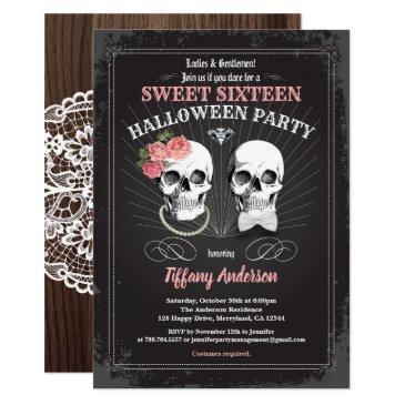 sweet sixteen 16 halloween birthday party pink invitation