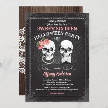 sweet sixteen 16 halloween birthday party pink invitation
