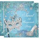 sweet sixteen 16 masquerade party blue tiara shoe invitation